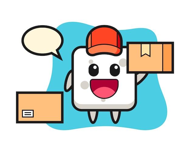 Mascotte illustratie van suikerklontje als koerier, leuke stijl voor t-shirt, sticker, logo-element