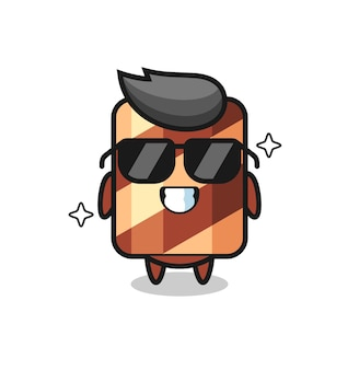Mascotte illustratie van wafer roll als hacker, schattig stijlontwerp voor t-shirt, sticker, logo-element