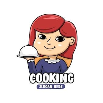 Mascotte karakter van chef-kok vrouw koken en eten logo