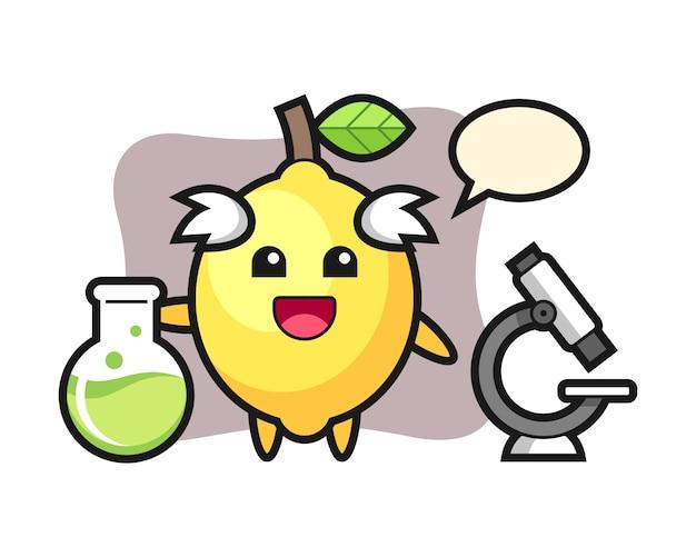 Mascotte karakter van citroen als wetenschapper