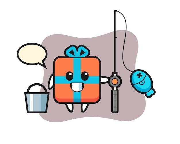 Mascotte karakter van geschenkdoos als visser