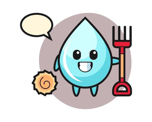 Mascotte karakter van waterdruppel als boer, schattig stijlontwerp voor t-shirt