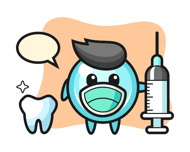Mascotte karakter van zeepbel als tandarts, schattig stijlontwerp