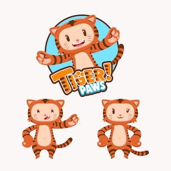 Mascotte karakterverzameling van schattige tijger met verschillende vormen