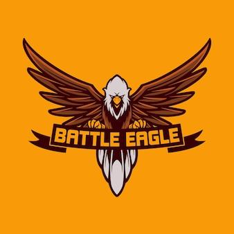 Mascotte logo adelaar vliegen met cartoon-stijl