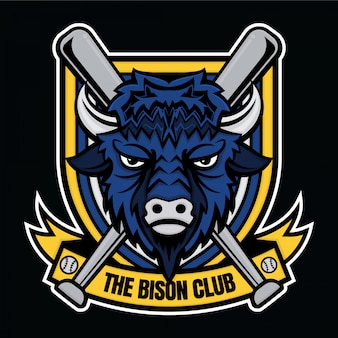 Mascotte logo baseball de bizon club