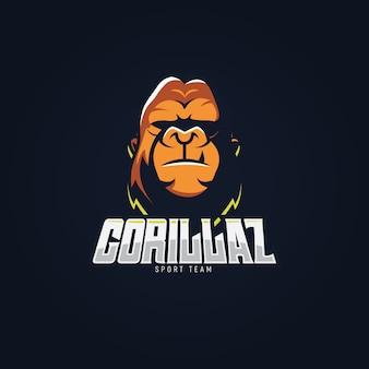 Mascotte logo-ontwerp met gorilla