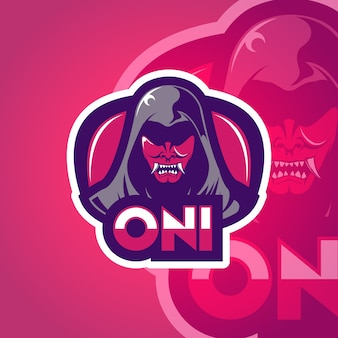 Mascotte logo-ontwerp met kwaad karakter