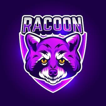 Mascotte logo-ontwerp met wasbeer
