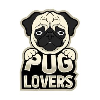 Mascotte logo pug liefhebbers