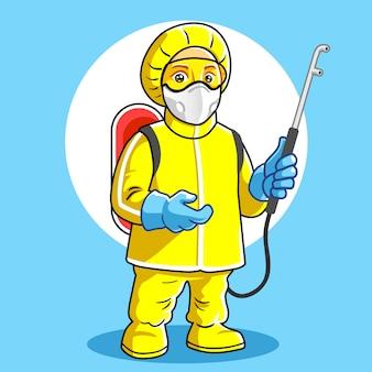 Mascotte medisch personeel draagt persoonlijke beschermingsmiddelen.