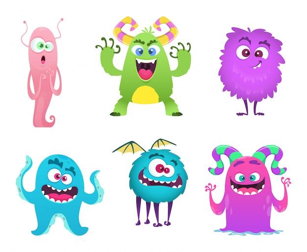 Mascotte monsters. harige schattige gremlin troll bizarre grappige speelgoed stripfiguren geïsoleerd