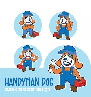 Mascotte of sticker karakter klusjesman hond ontwerpen
