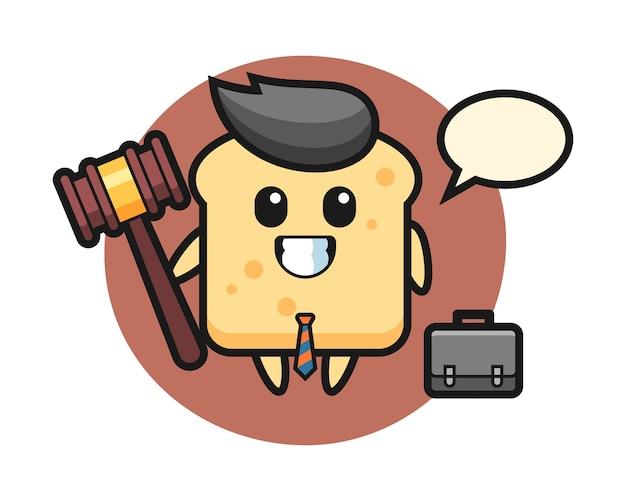 Mascotte van broodmascotte als advocaat