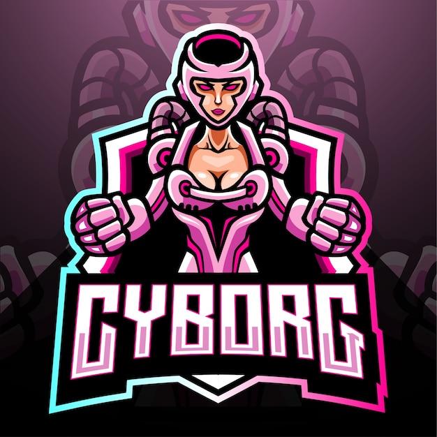 Mascotte van cyborg. esport logo ontwerp