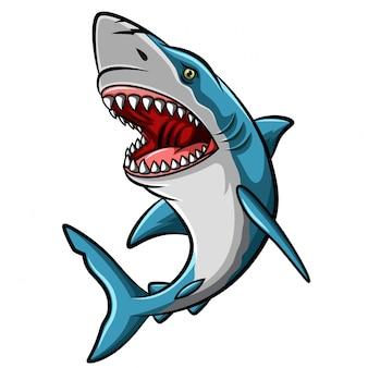 Mascotte van de beeldverhaal de boze haai op witte achtergrond