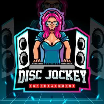 Mascotte van de discjockey. esport logo ontwerp