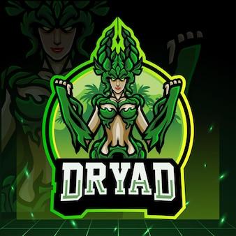 Mascotte van de dryade. esport logo ontwerp