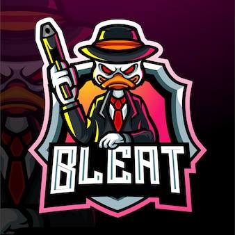 Mascotte van een eendschutter. esport logo ontwerp