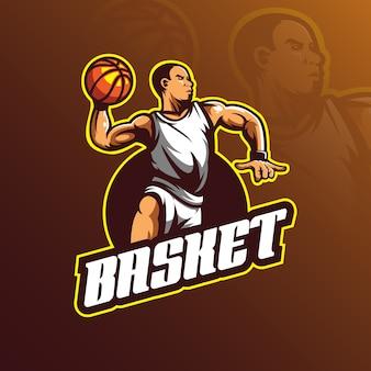 Mascotte van het basketballogo-ontwerp met moderne illustratieconceptstijl voor afdrukken van insignes, embleem en t-shirts.