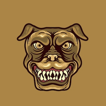 Mascotte van het hoofd van de hond Premium Vector
