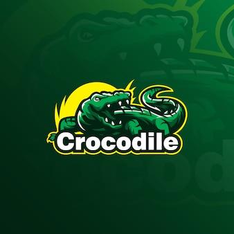 Mascotte van het krokodillogo-ontwerp met moderne illustratie conceptstijl voor badge, embleem en t-shirt afdrukken.
