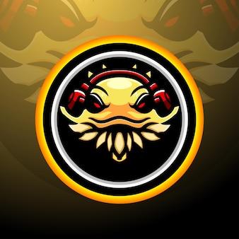 Mascotte van het logo van de baardagaam esport