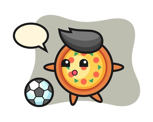 Mascotte van pizza cartoon speelt voetbal