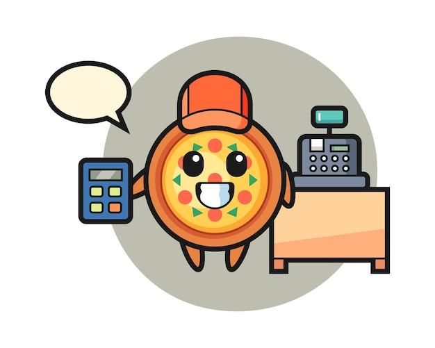 Mascotte van pizzakarakter als kassamedewerker