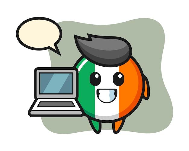 Mascotteillustratie van de vlagkenteken van ierland met laptop