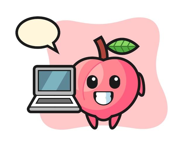 Mascotteillustratie van perzik met laptop, leuk stijlontwerp voor t-shirt