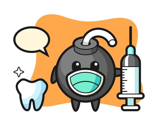 Mascottekarakter van bom als tandarts