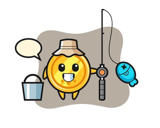Mascottekarakter van medaille als visser