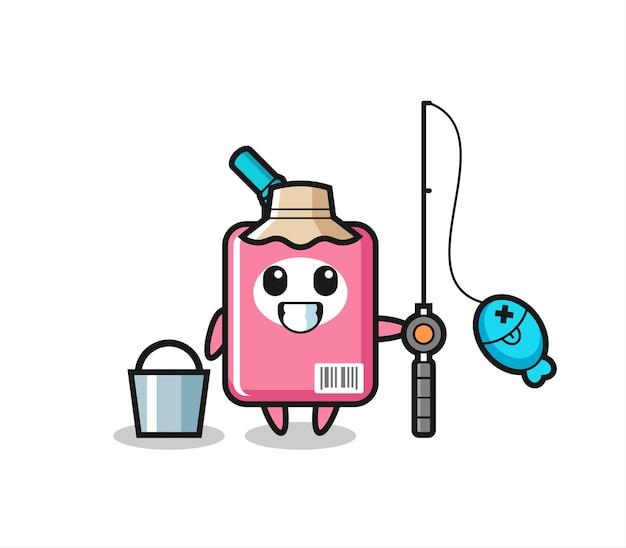 Mascottekarakter van melkdoos als visser, schattig stijlontwerp voor t-shirt, sticker, logo-element