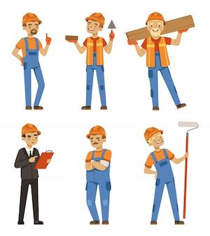 Mascotteontwerp van bouwers in verschillende houdingen