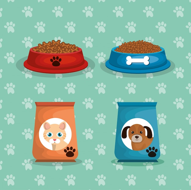 Mascottes tassen voedsel set