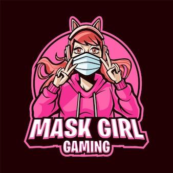 Mask girl gaming cartoon mascotte logo