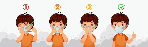 Mask n95 instructie. bescherming tegen luchtvervuiling door kinderen, stofbeschermende veiligheidsmaskers en pm2.5-verdedigingsillustratie