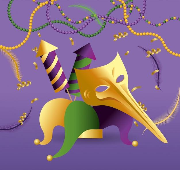 Masker en jokerhoed met vuurwerk om merdi gras te vieren