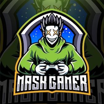Masker gamer esport mascotte logo ontwerp