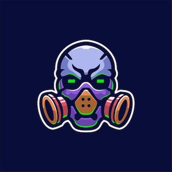 Masker hoofd cartoon logo sjabloon illustratie esport logo gaming premium vector