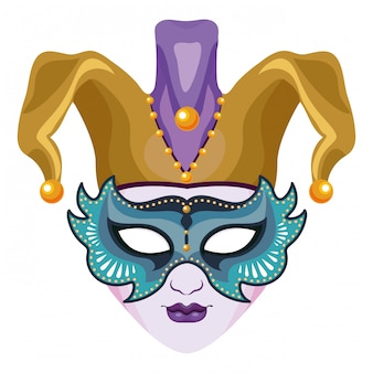 Masker met narrenhoed