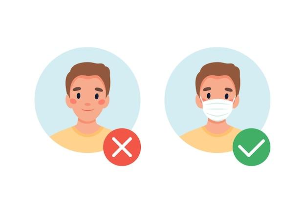 Masker vereist. geen toegang zonder masker. man met en zonder medisch masker.