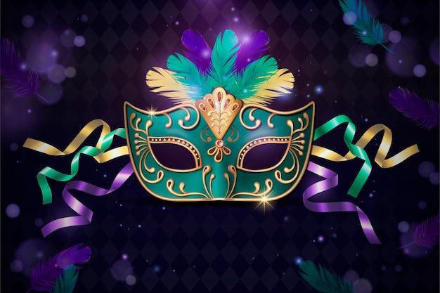 Maskerade decoratief masker in 3d-stijl op paars