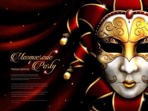 Maskeradefeestposter, prachtig carnavalsmasker met gouden oogmasker en decoratieve elementen geïsoleerd op scharlaken gordijn in 3d illustratie