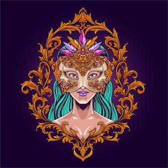 Maskers en carnaval mardi gras meisjes