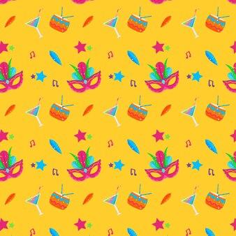Maskers en cocktails naadloos carnaval patroon