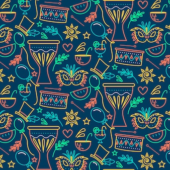 Maskers en ornamenten naadloze carnaval patroon