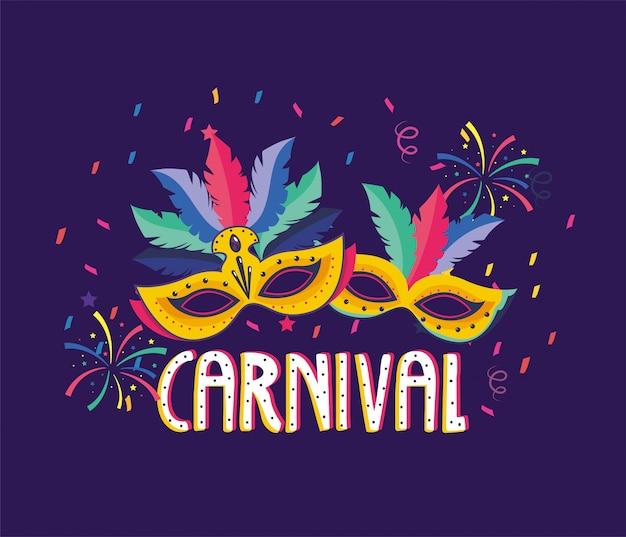 Maskers met veren en vuurwerk voor carnavalsfeest