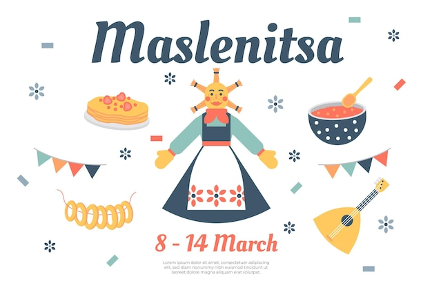 Maslenitsa illustratie in plat ontwerp